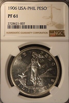 1906 Philippines Peso Silver Proof NGC PF 61     ** FREE U.S. SHIPPING **