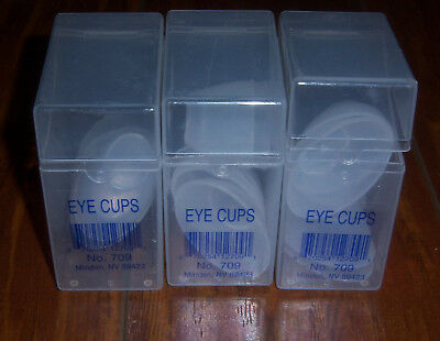 Afassco 709 Plastic Eye Cups 3 box lot flush eyes six cups per box new old stock