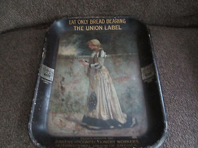 1911 Union Made Bread Label Bakery Tray Lady Marguerite By American Art Works
