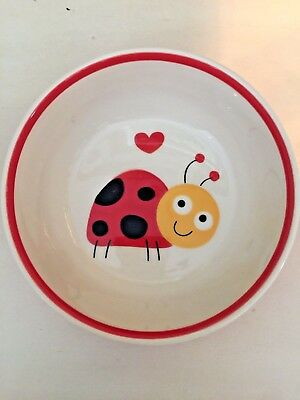 Indra Fine Stoneware Ladybug Breakfast Children's Bowl Thailand Red and Yellow