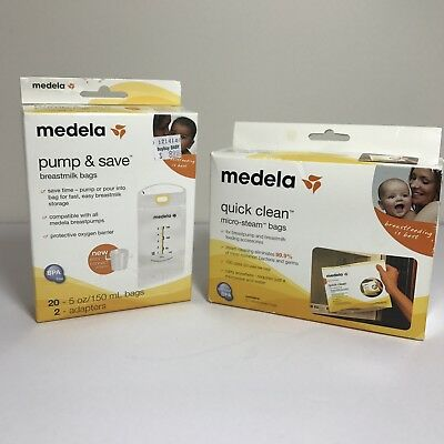 Medela Lot Pump and Save Breastmilk Bags and Quick Clean Micro Steam Bags