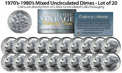 1970's-1980's DIMES Mixed Uncirculated Coins Direct US Mint Cello Packs (QTY 20)