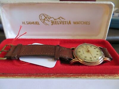 vintage wristwatch Helvetia 9 ct gold, boxed