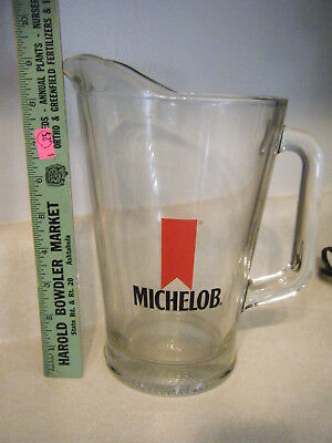 "Vintage Michelob Beer 9"" Tall Glass Pitcher Ships Free"