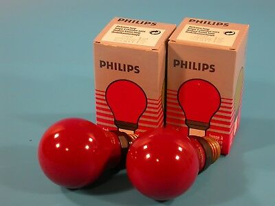Philips Pair of Red  Darkroom Safe Light Bulbs 230V PF712E - NEW