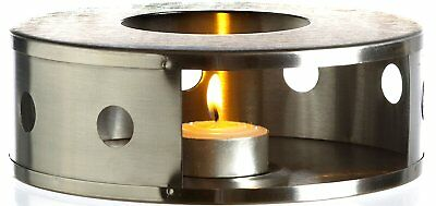 Stainless Steel Teapot Food Coffee Warmer with Tealight Holder Elegant Finish