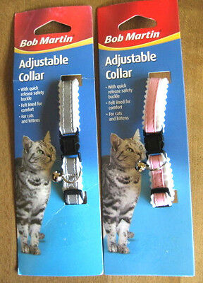 Bob Martin Adjustable Cat Collar X 2 Pink &  Silver Grey