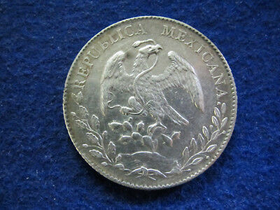 1896 Zs Mexico Silver 8 Reales - Zacatecas Mint - Cleaned XF - Free U S Shipping