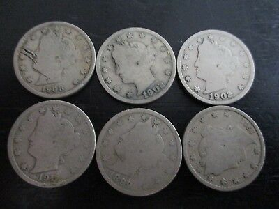 Lot Of 6 Victory Nickels 1899-1912