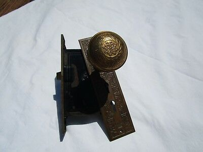 2 Vintage Ornate Door Knobs With Lock Mechanism Ornate Face Plate  As Found