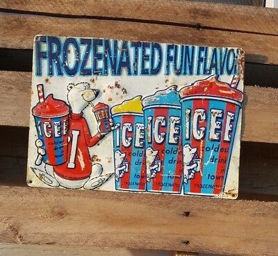 ICEE Embossed Tin Sign Gas Station General Store Beverage Drink Rust Vintage