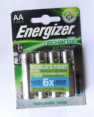 Energizer 4x Piles AA HR6 Accu Recharge Extreme Batterie Pile 1,2V Rechargeable