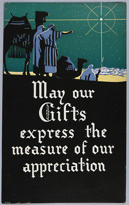 Fine Art Deco Very Rare Vintage Silkscreen Poster 1940s Christmas Great Graphics