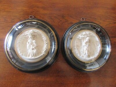 Pair of Parian Figural Roundels by R.A. Coneau c.1840s-50s