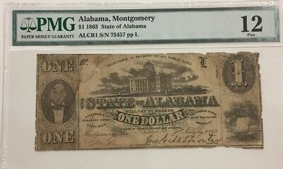 $1 1863 The State Of Alabama , Montgomery Obsolete  Note  Pmg 12 Fine