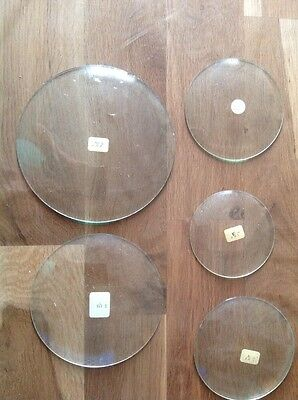 Five Vintage Antique Clock Glasses Labelled With Sizes Ex Clockmakers Spares