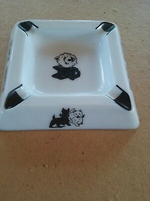 "BLACK & WHITE  SCOTCH WHISKY ""SCOTTIE""  Ceramic Ashtray"
