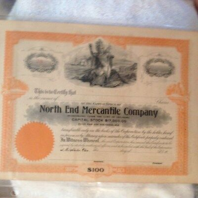 Vintage McAlester Oklahoma Stock North End Mercantile Company $100