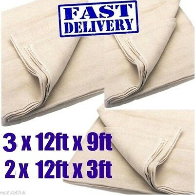5 100% Cotton Twill Dust Sheets ( Inc 2 Stairways) Professional Quality -Eqds12