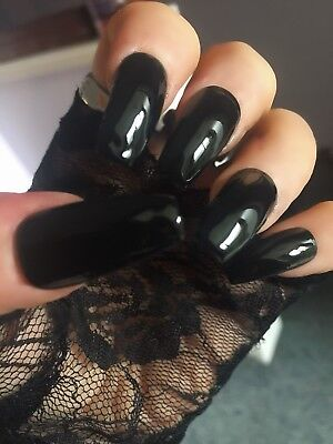 Hand Painted Gothic Black False Nails Coffin Full Cover Tips - Press On Nails