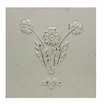 Antique White Floral Tile with Gold Detail