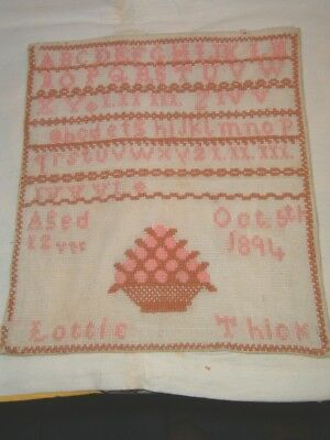 Victorian Wool Sampler 1894 Lottie Thick Aged 12 Years.
