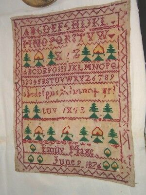 Victorian Embroidered Wool ? Sampler 1876