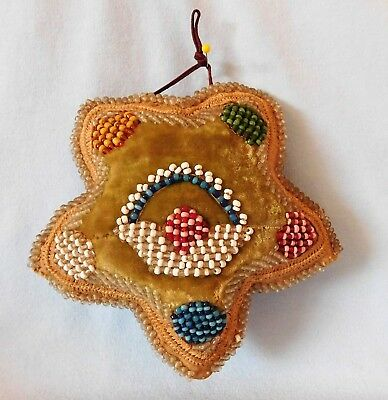 Antique IROQUOIS BEADED WHIMSEY Sewing Pin Cushion 5 POINT STAR w/ FLOWER BASKET