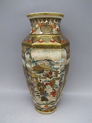 Antique Satsuma Ceramic Vase Meiji Hand Painted Japanese Japan Signed