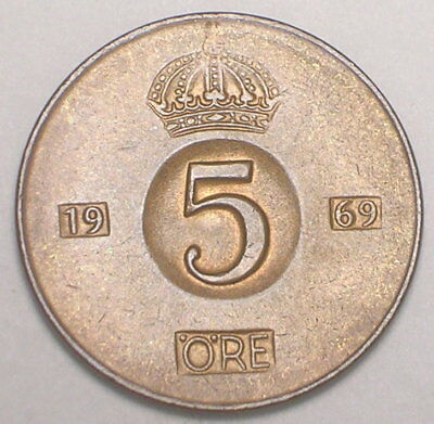 1969 Sweden Swedish 5 Ore Crown Coin VF+
