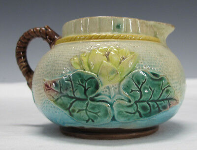 Antique Victorian Samuel Lear Majolica Pottery Pond Lily & Rope Creamer #5   yqz