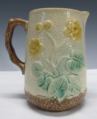 Antique Griffen Smith Hill Etruscan Majolica Pottery Berries&Flowers Pitcher yqz