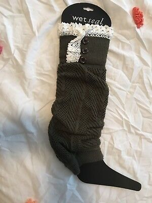 army green white lace crochet leg warmers pirate steampunk