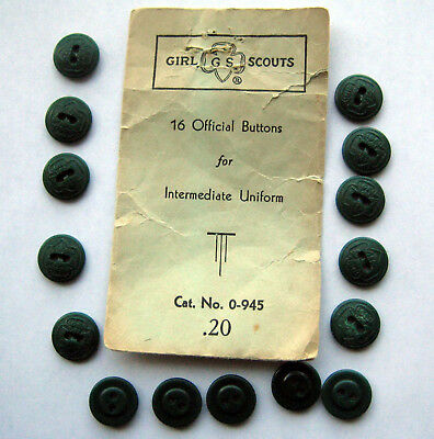 Vintage Girl Scout 1950's GREEN UNIFORM BUTTONS 15 Pack Official Sewing Repair