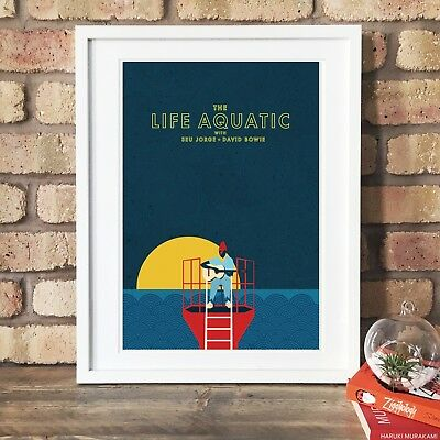 The Life Aquatic with David Bowie and Seu Jorge Illustrated Art Print.