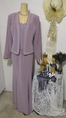 Mother Of The Bride Dress/Jacket Set by Montage-Size 16-Amethyst Beaded