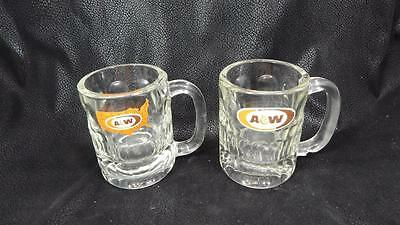 "TWO 1968 & 1972 Oval & USA Map Thumbprint Glass A&W Root Beer 4 ¼"" Tall Mugs EUC"