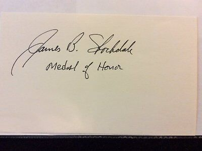 "Admiral James Stockdale MOH Medal of Honor signed 3"" x 5"" card."
