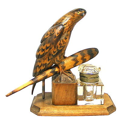 Antique Vintage Hand Carved Wood Glass Eyes Hawk Inkwell