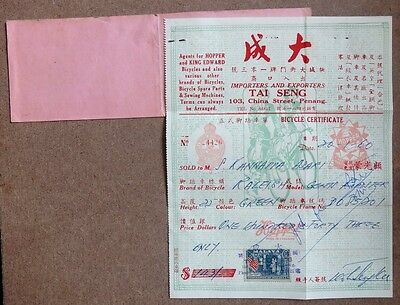 Malaya 1960 Bicycle certificate zaz