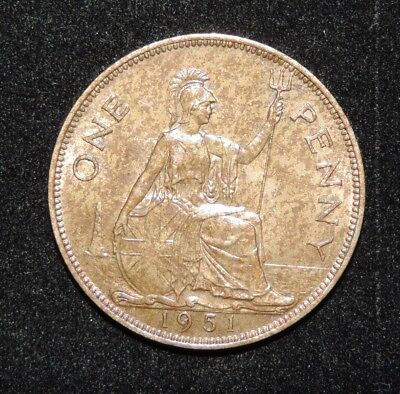 1951 Great Britain British George VI Large One Penny KEY DATE Uncirculated