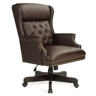 Wingback Traditional High Back Button Tufted Styling Office Desk Chair, Brown