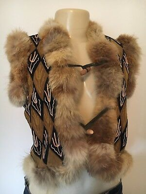 Vintage Embroidered Suede Leather Rabbit Fur Vest Ethnic Peasant Hippie Bohemian