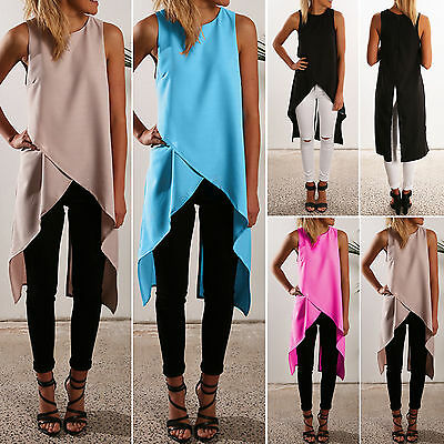Women Irregular Hem Tunic Dress T Shirt Summer Casual Sleeveless Top Vest Blouse