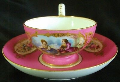 Fine French Sevres Porcelain Cup & Saucer Watteau Scene circa 1874 #A