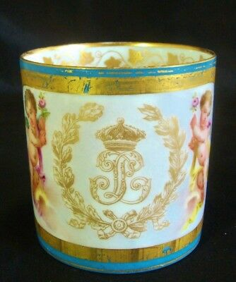 Fine French Sevres Porcelain Coffee Cup Cherubs & Louis-Philippe Crest 1876