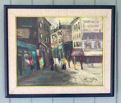 """Vibrant Paris St.scene """"Behind The Moulin Rouge"""" Signed Oil On Canvas Framed"""