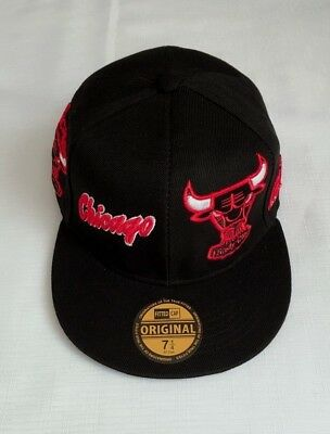 New NBA Basketball Chicago Bulls Sized hat Flat Brim Closed back Fitted Cap