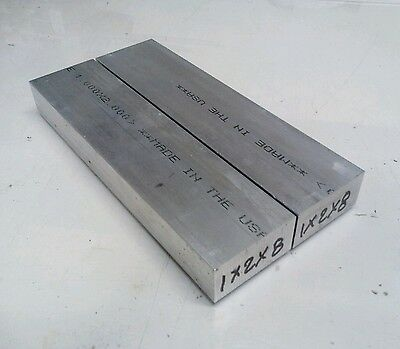 "2 pc 1"" X 2"" new 8"" long 6061 T6511 solid aluminum plate flat bar stock block"