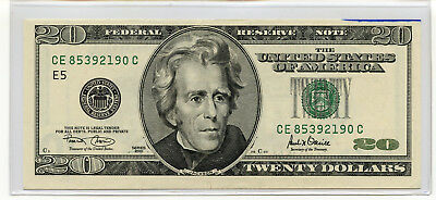 2001 $20 Bill American Currency Twenty Dollar Federal Reserve Note PURE WHITE A